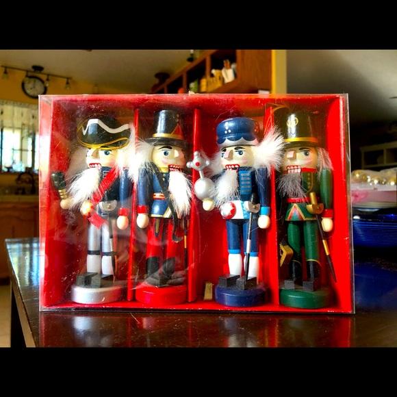 Set of 4 Wooden Nutcracker Ornaments